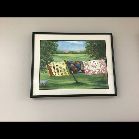 ORIGINAL WATER COLOUR OF HANGING LAUNDRY FRAMED